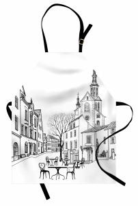 Eski Şehir Manzarası Mutfak Önlüğü Sonbahar