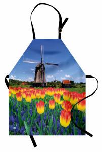 Lale Bahçesi Desenli Mutfak Önlüğü Hollanda Değirmeni