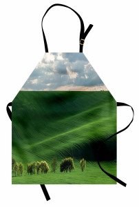 Uçsuz Bucaksız Çayır Mutfak Önlüğü Yeşil Doğa Ağaçlar