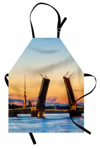 Saray Köprüsü Manzarası Mutfak Önlüğü Denizde Gün Batımı