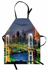 Tokyo Silüeti Gökkuşağı Köprüsü Mutfak Önlüğü Gökkuşağı Köprüsü Japonya