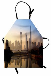 Şangay'da Gün Doğumu Mutfak Önlüğü Puslu Hava Gri