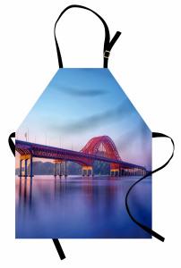 Kırmızı Köprü Mutfak Önlüğü Nehir Doğa Mavi