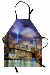 Işıklı New York Mutfak Önlüğü Şehir Işıkları Köprü