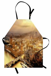 Londra'ya Havadan Bakış Mutfak Önlüğü Gün Doğumu Sarı