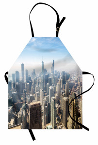 Chicago'ya Havadan Bakış Mutfak Önlüğü Metropolis Gri