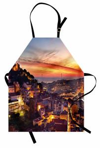 Gün Batımında Lizbon Mutfak Önlüğü Deniz Manzaralı