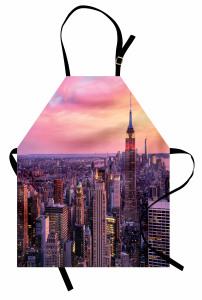 New York Manzarası Mutfak Önlüğü Ufuk Çizgisi Turuncu