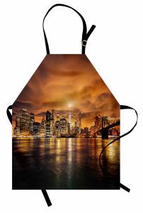 Gün Batımında New York Mutfak Önlüğü Turuncu