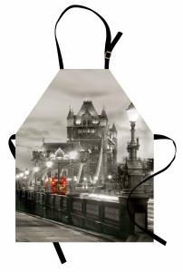 Londra Köprü Manzarası Mutfak Önlüğü Antik Mimari Gri