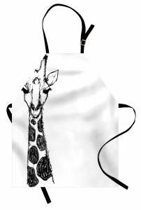 Kara Kalem Zürafa Figürü Mutfak Önlüğü Afrika Kara Kıta