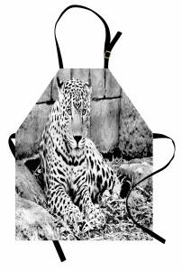 Nostaljik Jaguar Mutfak Önlüğü Siyah Beyaz Jaguar