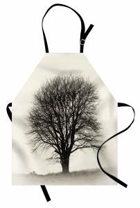 Yalnız Bir Ağaç Mutfak Önlüğü Doğada Sonbahar Gri