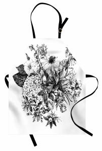 Siyah Beyaz Buket Mutfak Önlüğü Çiçek Dekoratif