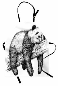 Ağaçta Uyuyan Panda Mutfak Önlüğü Siyah Beyaz Şık