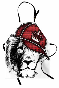 Kral Şapkalı Aslan Mutfak Önlüğü Siyah Kırmızı