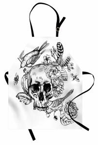 Kuru Kafa Çiçek ve Kuş Mutfak Önlüğü Siyah Beyaz