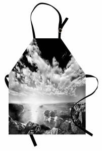 Denizdeki Kayalar Mutfak Önlüğü Bulutlu Gökyüzü