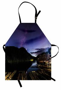 Nehirdeki Kulübe Mutfak Önlüğü Doğa Yıldızlı Gökyüzü