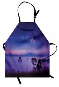 Mavi Yıldızlı Gökyüzü Mutfak Önlüğü Mor Sis Ağaç