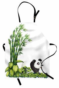 Sevimli Panda ve Bambu Mutfak Önlüğü Sevimli Panda Bambu Ağacı