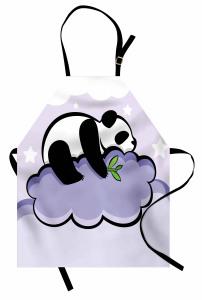 Bulut Üstündeki Panda Mutfak Önlüğü Bulut Üzerinde Panda Mor
