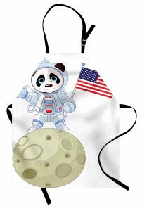 Astronot Panda Desenli Mutfak Önlüğü Astronot Panda Ayda Beyaz