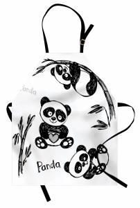 Bebek Panda Desenli Mutfak Önlüğü Bebek Panda Bambu Ağacı