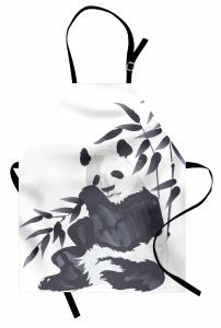Panda ve Bambu Desenli Mutfak Önlüğü Suluboya Etkili Asya Siyah Beyaz
