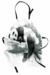 Uyuyan Panda Desenli Mutfak Önlüğü Uyuyan Panda Siyah Beyaz