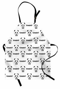Şirin Panda Portreli Mutfak Önlüğü Siyah Beyaz Şık Tasarım