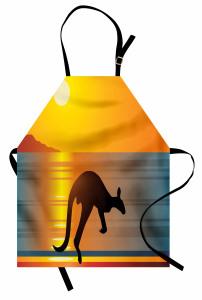 Sahildeki Kanguru Mutfak Önlüğü Deniz Güneş Turuncu