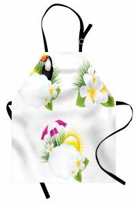 Tropik Çiçek ve Kuş Mutfak Önlüğü Beyaz Dekoratif