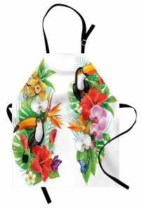 Egzotik Kuş ve Çiçekler Mutfak Önlüğü Rengarenk Şık