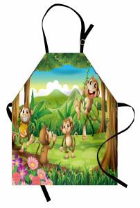 Sevimli Maymunlar Mutfak Önlüğü Kahverengi Yeşil