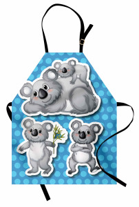 Gri Koala Desenli Mutfak Önlüğü Mavi Puantiyeli