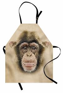 Maymun Yüzü Desenli Mutfak Önlüğü Bej Dekoratif