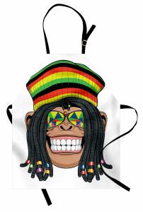 Hippi Maymun Desenli Mutfak Önlüğü Jamaika Komik