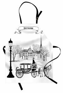 Nostaljik Şehir Mutfak Önlüğü Antik Siyah Beyaz