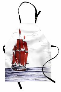 Denizdeki Yelkenli Mutfak Önlüğü Mavi Kırmızı