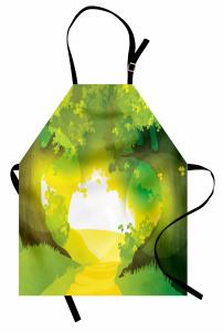 Güneşli Yoldaki Ağaçlar Mutfak Önlüğü Sarı Yeşil