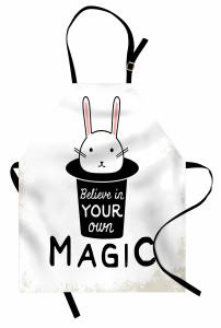 Şapkadan Çıkan Tavşan Mutfak Önlüğü Siyah Beyaz