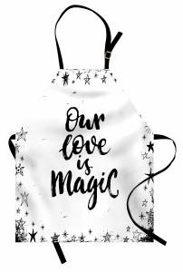 Aşk Sözleri Desenli Mutfak Önlüğü Siyah Beyaz Romantik