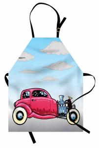 Pembe Araba Desenli Mutfak Önlüğü Mavi Gökyüzü