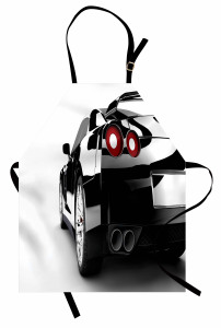Gri Spor Araba Mutfak Önlüğü Beyaz Fon Dekoratif