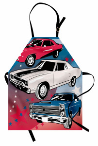 Rengarenk Arabalar Mutfak Önlüğü Kırmızı Beyaz Mavi