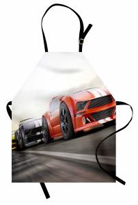 Yarış Arabası Desenli Mutfak Önlüğü Motor Sporları