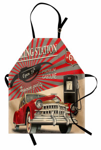 Nostaljik Poster Etkili Mutfak Önlüğü Retro Kırmızı