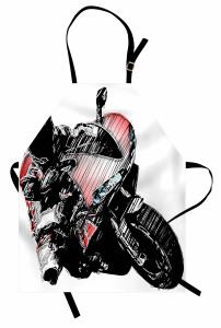 Motosiklet Yarışçısı Mutfak Önlüğü Siyah Dekoratif