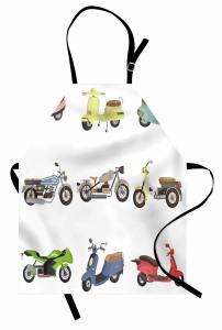 Rengarenk Motosikletler Mutfak Önlüğü Şık Beyaz Fon